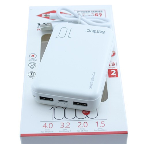 Power Bank Внешний аккумулятор 10000мАч 2xUSB 2.1А Sertec ST-2062, белый, 103228
