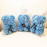 Лучший подарок: мишка из искусственных 3D роз 25 см. Цвет: голубой