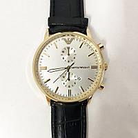 Часы наручные Emporio Armani Black ремешок черный, циферблат -светный (реплика)
