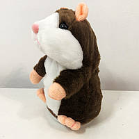 Говорящий хомяк повторюшка детская интерактивная мягкая игрушка повторюша. Цвет: темно-коричневый