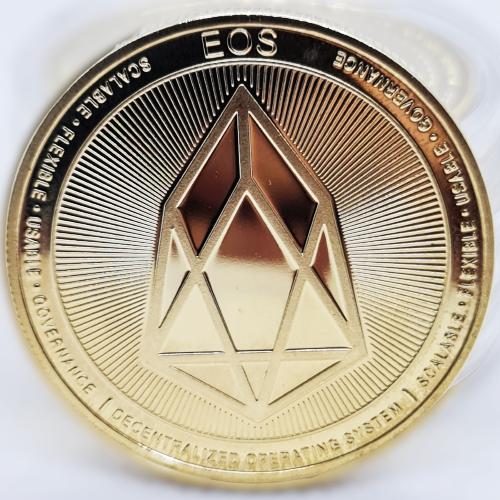 Сувенірна монета EOS позолочена