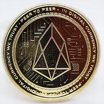 Сувенірна монета EOS позолочена, фото 3