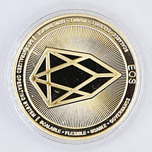 Сувенірна монета EOS позолочена, фото 2