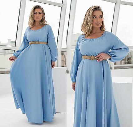 """Женское нарядное платье до больших размеров 2261 """"Лён Макси Клёш"""" в расцветках"""