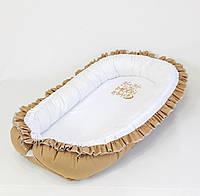 Кокон – гніздечко з непромокальним матрацом і ортопедичною подушкою BabySoon колір шоколад, фото 1