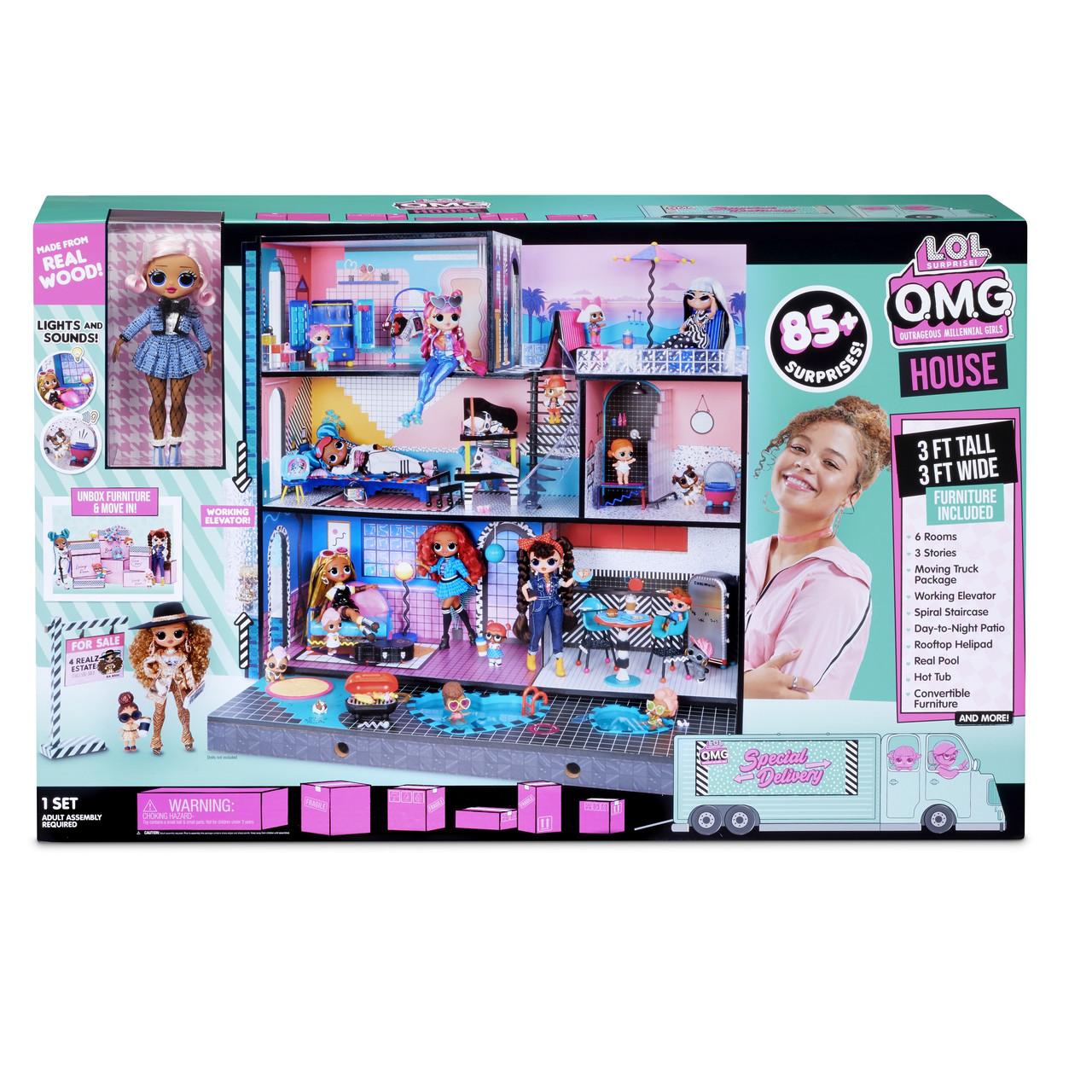 Модный дом лол особняк с большой куклой ОМГ Уценка LOL Surprise Дом для кукол ЛОЛ OMG House New Real Wood Doll