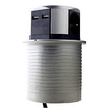 Мебельная розетка 3 x 16 А, 2 x USB 2,4 А , металл + провод 3 x 1.5 mm²