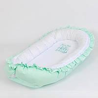 Кокон – гнёздышко с непромокаемым матрасом и ортопедической подушкой BabySoon Нежная мята