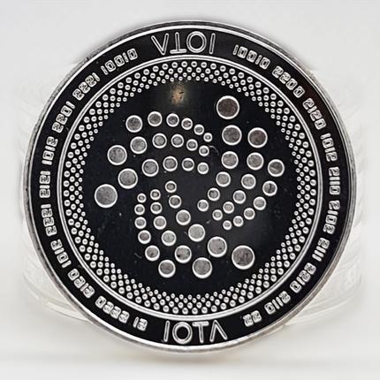 Монета сувенирная IOTA серебряного цвета., фото 2