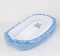 Кокон – гнёздышко с двухсторонним непромокаемым матрасом и ортопедической подушкой BabySoon Голубой