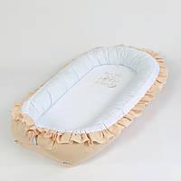 Кокон – гнёздышко с двухсторонним непромокаемым матрасом и ортопедической подушкой BabySoon Капучино