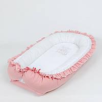 Кокон – гнёздышко с непромокаемым матрасом и ортопедической подушкой BabySoon Пыльная роза