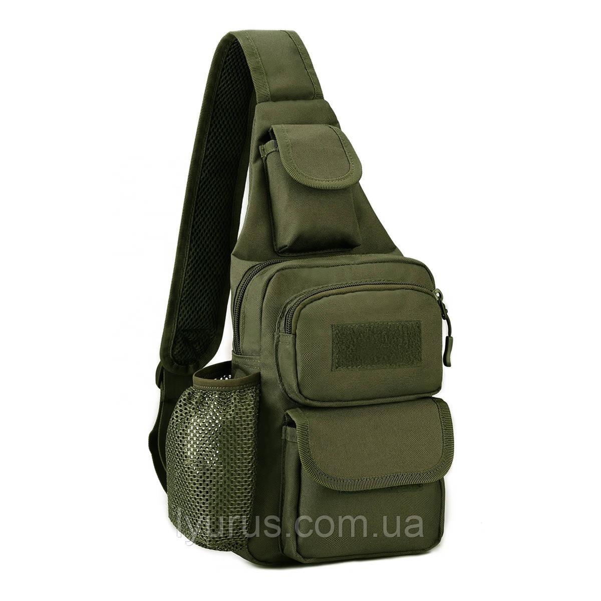 Тактическая сумка-рюкзак, барсетка, бананка, однолямочник. + USB выход. Хаки