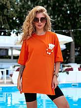 Женская футболка, 100% коттон, р-р 42-44; 44-46 (оранжевый)