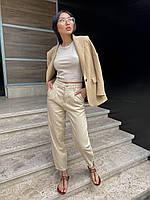 Модные женские бежевые джинсы, фото 1