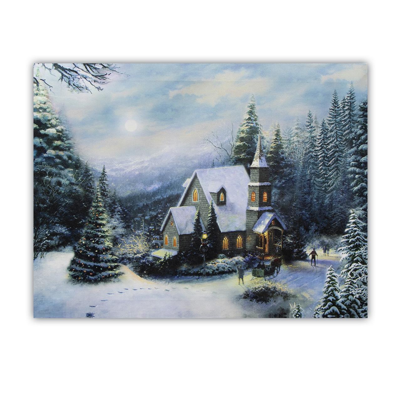 Светящаяся картина - зимний дом на фоне заснеженного леса, 8 LЕD ламп, 30*40 см (940133)