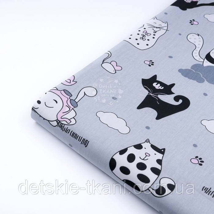 """Клапоть тканини """"Коти з крилами і рожевим парасолькою"""", №3168, розмір 37*75 см"""