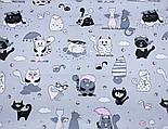 """Клапоть тканини """"Коти з крилами і рожевим парасолькою"""", №3168, розмір 37*75 см, фото 6"""