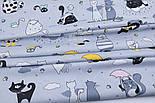 """Клапоть тканини """"Коти з крилами і рожевим парасолькою"""", №3168, розмір 37*75 см, фото 7"""