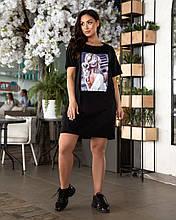 Женское платье батал, турецкая пенье, р-р универсальный 48-54 (чёрный)