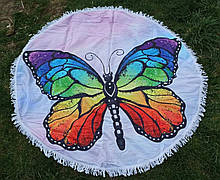 Пляжное покрывало | Пляжный плед | Пляжный коврик   | Пляжное круглое полотенце. Бабочка