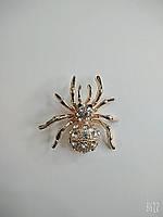 Брошка павучок в металі під золото з білими стразами, фото 1