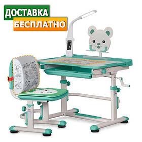 Детская парта со стульчиком трансформер Evo-kids BD-04 XL Teddy (с лампой)