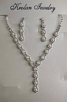 Набір в білому металі з білими фіанітами і штучним перлами, фото 1