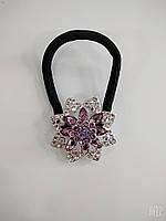 Тонка гумка з прикрасами зі стразами у формі квітки, фото 1