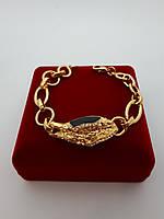 Браслет Viennois под золото с черной эмалью и белыми стразами, фото 1