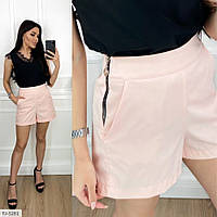 Молодежные модные женские шорты на лето с завышенной талией и боковыми карманами арт 208