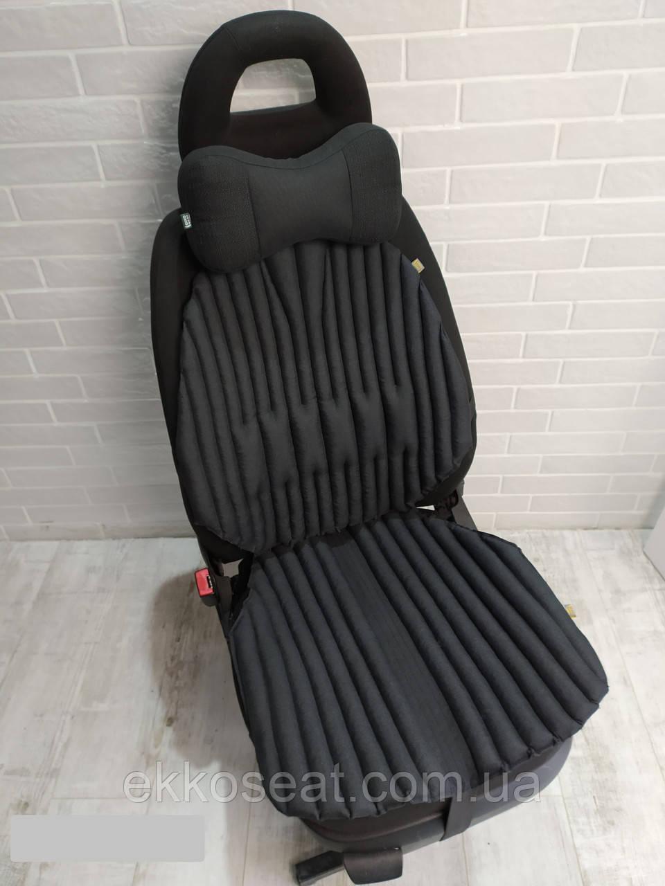 Подарок мужчине. Ортопедические подушки EKKOSEAT для авто кресла. Комплект. Универсальные. Черные, серые ...