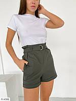 Короткие красивые модные шорты в классическом стиле на лето с карманами р-ры 42-44,46-48 арт 335