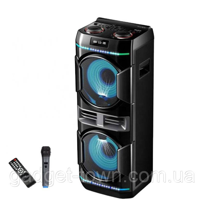 Колонка аккумуляторная Leisound partybox c радиомикрофоном (200W/USB/BT/FM/)