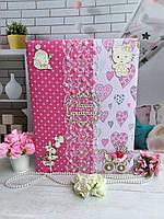 Детский фотоальбом анкета для новорожденной девочки ручной работы с записями и фото по месяцам первого года