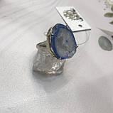 Агат 18,5 р. агатовая жеода кольцо с камнем жеода агата в серебре Индия, фото 6