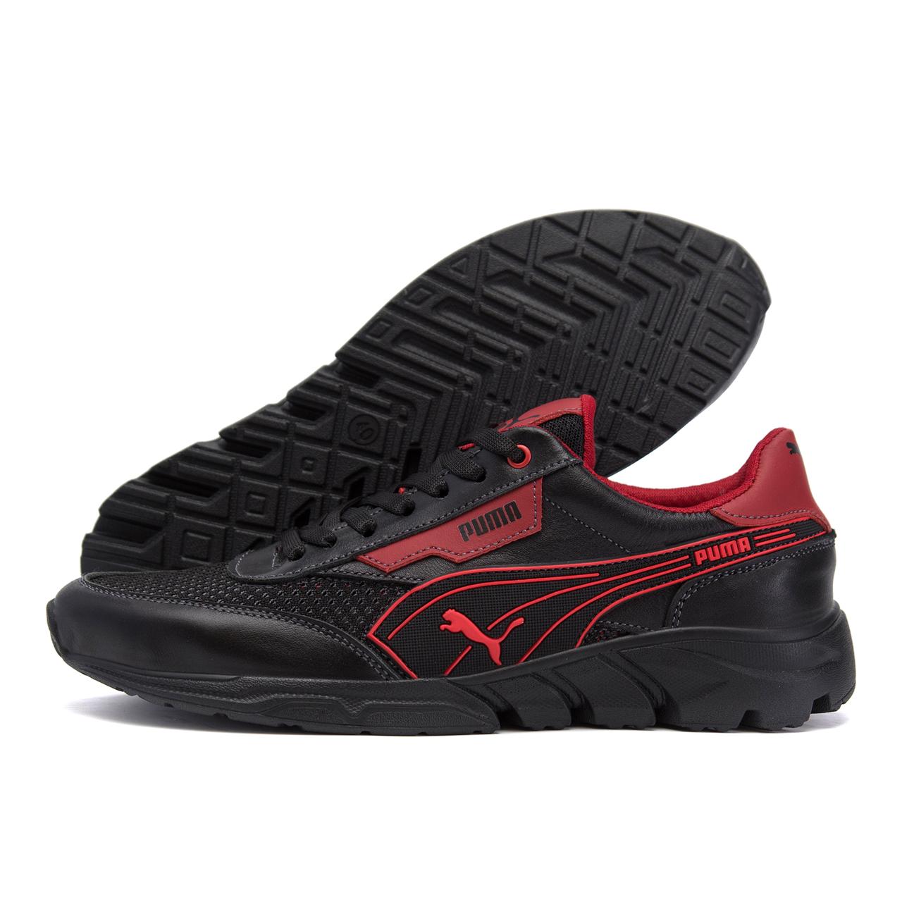 Чоловічі кросівки літні сітка Puma Anzarun чорні з червоним