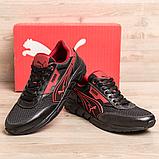 Чоловічі кросівки літні сітка Puma Anzarun чорні з червоним, фото 2
