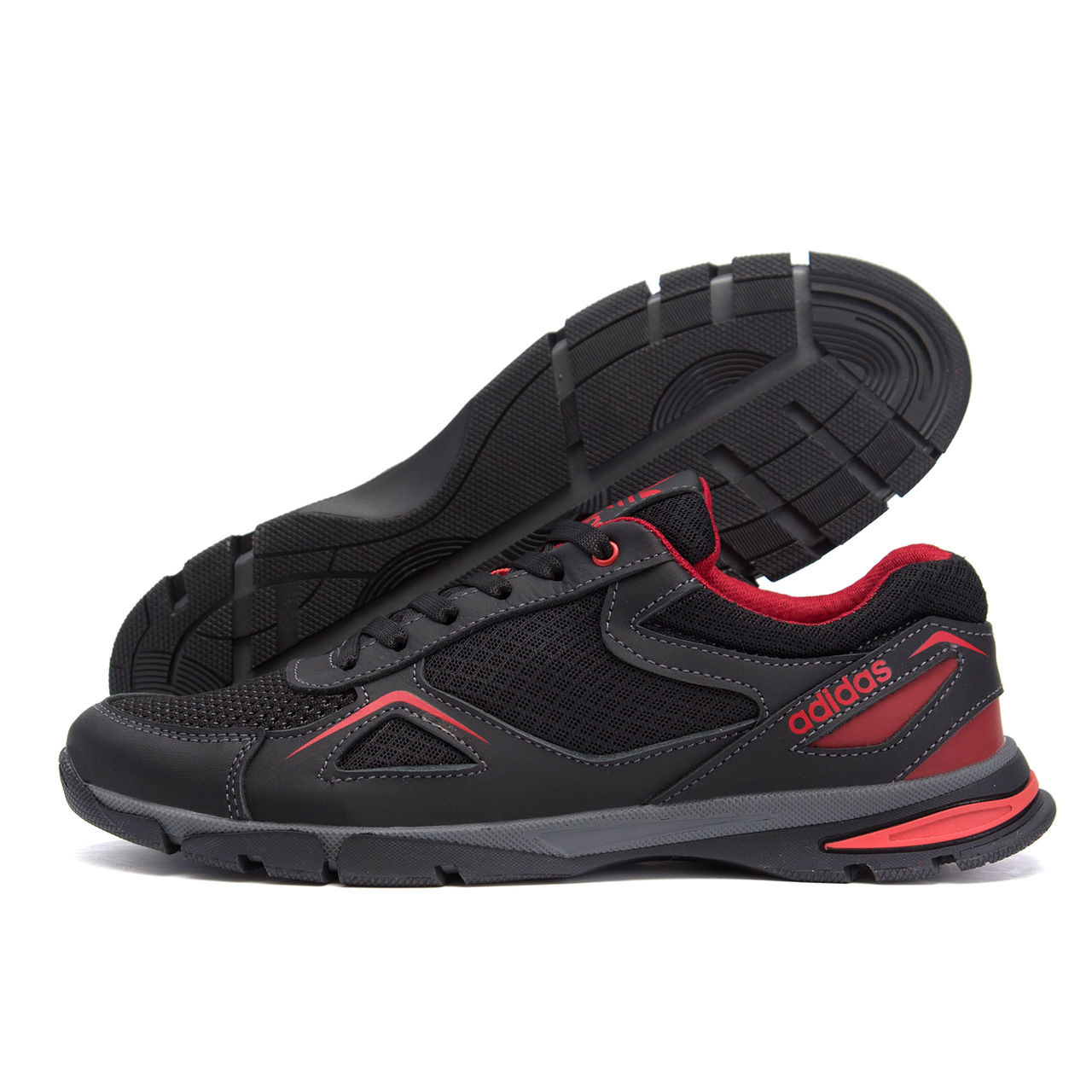 Чоловічі кросівки літні сітка Adidas Tech Flex чорні з червоним