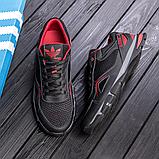 Чоловічі кросівки літні сітка Adidas Tech Flex чорні з червоним, фото 2