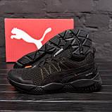 Чоловічі кросівки літні сітка Puma Runner чорні, фото 2