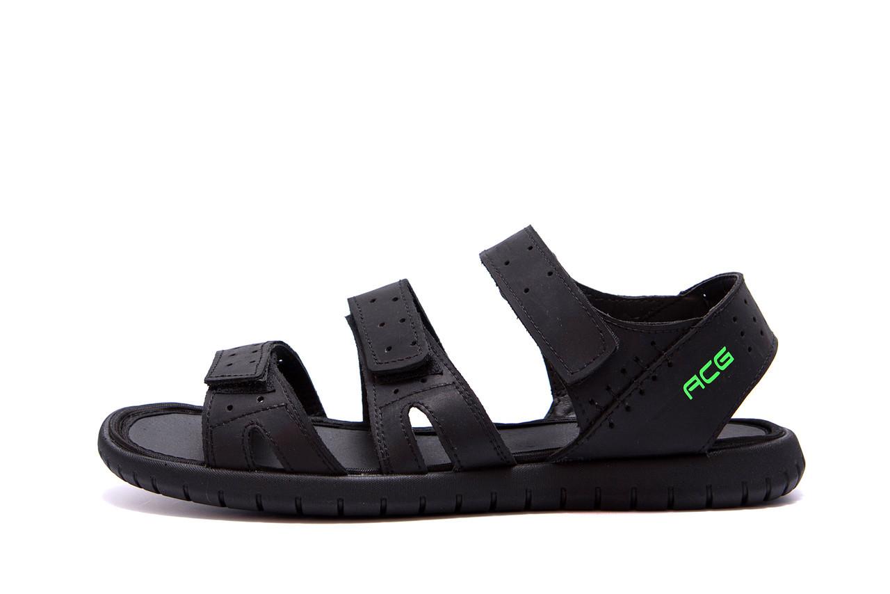 Мужские кожаные сандалии Nike ACG Black черные