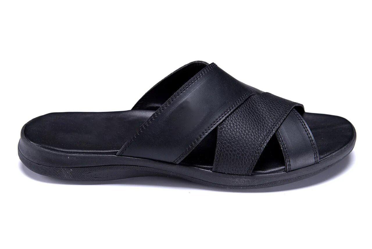 Мужские кожаные летние шлепанцы-сланцы E-series Black черные