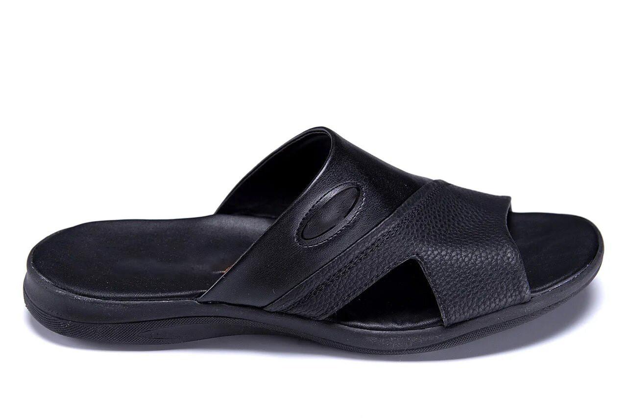 Чоловічі шкіряні літні шльопанці-сланці E-series Black чорні