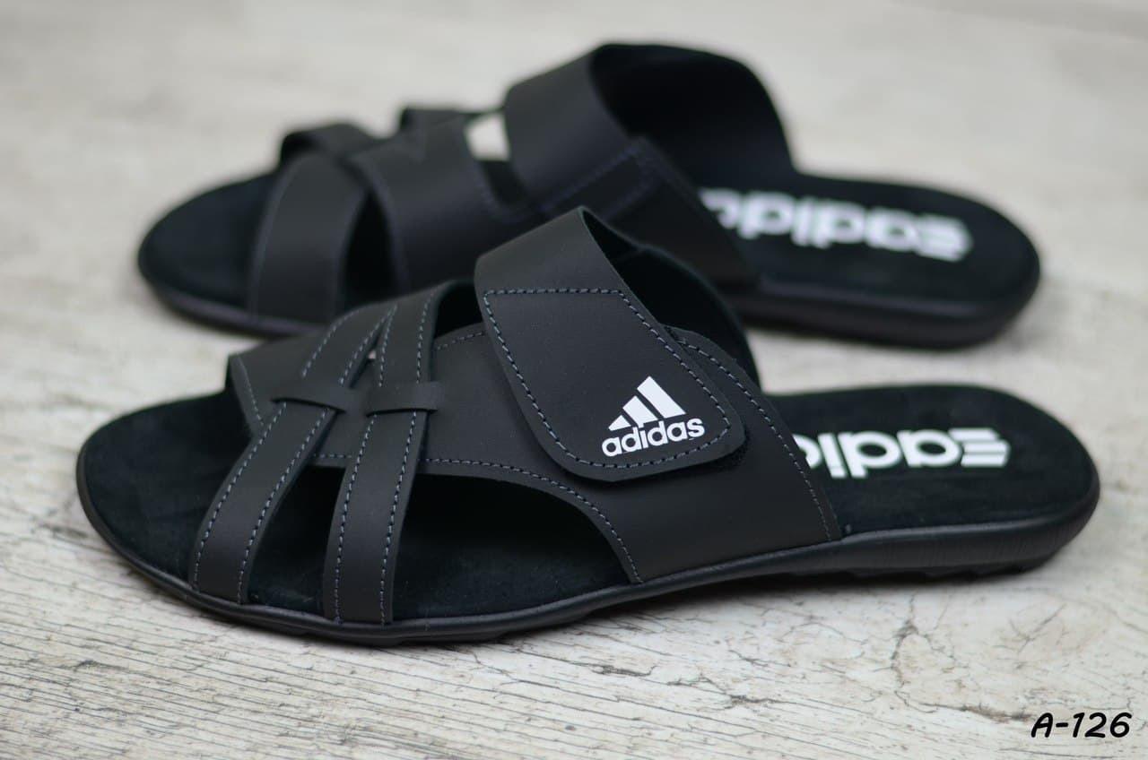 Мужские кожаные летние шлепанцы Adidas, черные