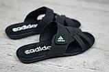 Мужские кожаные летние шлепанцы Adidas, черные, фото 2