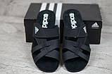 Мужские кожаные летние шлепанцы Adidas, черные, фото 3