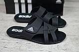 Мужские кожаные летние шлепанцы Adidas, черные, фото 4