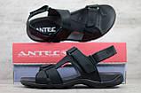 Мужские кожаные сандалии Antec, черные, фото 4