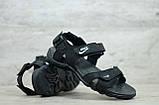 Чоловічі шкіряні сандалі Nike, чорні, фото 2